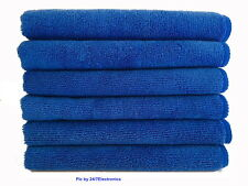 "6 (Six) BLUE NAVY MICROFIBER CLEANING WASH CLOTH TOWEL 16""x16"" 40x40cm 300GSM"