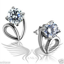 AAA Grade Round CZ Cubic Zircon High Polished Stainless Steel Earrings TK2147