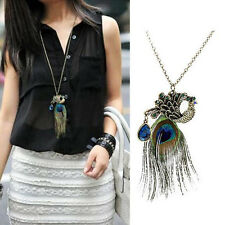 Retro Beauty Peacock Feather Pendant Long Chain Vintage Women Sweater Necklace