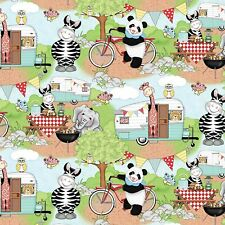 """Bazooples Campout Scenic Cute Animals 100% cotton 43"""" fabric by the yard"""