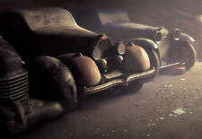 Framed Print - Vintage Cars Lined up in a Dusty Garage (Old Vehicle Picture Art)