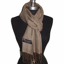 New 100% Cashmere Scarf Beige/Brown Twill Check Plaid Wool Soft Unisex (#G05a