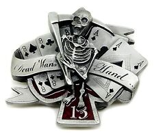 Skull Belt Buckle Grim Reaper Skeleton Gothic Dead Mans Hand Authentic Pagan