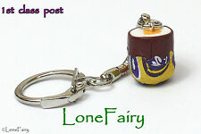Hand Crafted Creme egg Keyring key Chain Easter Polymer Clay Chocolate Food