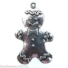 4 ANTIQUE SILVER TONE GINGERBREAD MAN PENDANT CHARMS 40mm Christmas Fairytale