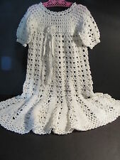 VINTAGE CROCHET BABY DRESS - LONG WITH FLARED BOTTOM, RIBBON TIES - BEAUTIFUL!!