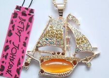 Cure NWT Betsey Johnson Necklace  Pirate �� Ship Sail Boat Gold  Gasparilla