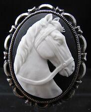 Horse Cameo Brooch Pin
