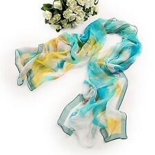 Long Silk Chiffon Scarf Blue and Yellow Theme SCH047