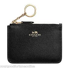 NWT Coach Medium Wallet Card Case Skinny Key Chain Ring ID 57854 Black Leather