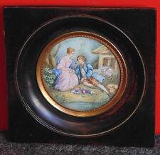 magnifique ancienne miniature encadrée peinte scene galante style XIII EME