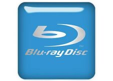 "Blu-ray Disc Blue 1""x1"" Chrome Domed Case Badge / Sticker Logo"