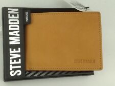 Men's STEVE MADDEN Brand Tan LEATHER PassCase BiFold Wallet - $40 MSRP - 20%