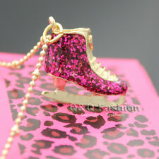 Fab Pink Ice Skate Shoe Boot Pendant Necklace Gold Tone
