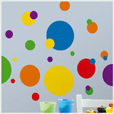 CIRCLES POLKA DOTS wall stickers 31 big decals colorful room decor red blue +
