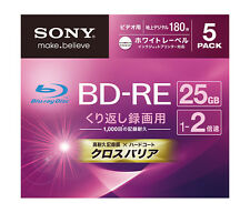 5 Sony Bluray Disc BD-RE 25gb 2x Speed Rewritable Blu-ray Made in Japan