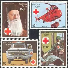Burkina Faso 1985 Red Cross/Medical/Helicopter/Aviation/Transport 4v set n27848