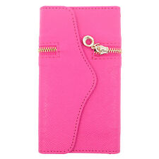 For HTC Desire 526 Leather Premium Zipper Wallet Case Flip Phone Cover Accessory