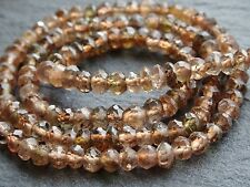 "HAND FACETED ANDALUSITE RONDELLE BEADS, approx 3.5mm, 13"", 110 beads"
