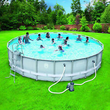 Coleman 22x52 Power Steel Frame Above Ground Swimming Pool Set Outdoor Backyard
