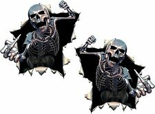 2x Skulls Skeleton Middle Finger Stickers Giving Punch Motorcycle Helmet Car #36