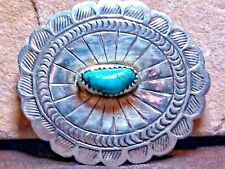STERLING CONCHO TURQUOISE .925 BROOCH/PIN VINTAGE SOUTHWESTERN HANDCRAFTED