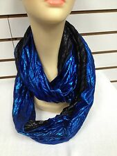 All Season Light Metallic Jersey Infinity Circle Eternity Scarf Royal Blue