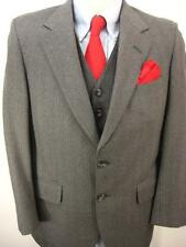 Mens Mid Century 2 Button Three Piece Gray Wool Suit Flat Front Pant 38S