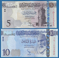 LIBYA 5 + 10 Dinars (Set 2 Notes) P New 2015 UNC Low Shipping! Combine FREE!