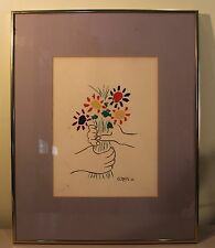 VINTAGE SIGNED PABLO PICASSO HANDS W/ FLOWERS Bouquet of Peace 1958 ART LITHO