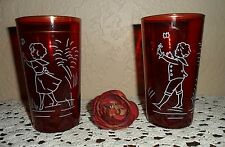 VINTAGE RUBY RED HAND PAINTED LITTLE SAILOR GIRL & BOY TUMBLERS GLASS BUTTERFLY