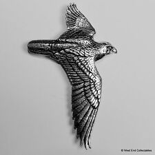 Hawk in Flight Pewter Brooch Pin-British Artisan Signed- Falconry Hunting Bird