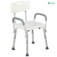 White Medical Bath Shower Chair Adjustable Bathtub Bench Stool Seat Armrest Back