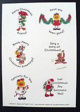 """VINTAGE SUZY ZOO VISITS CURRENT 6 STICKERS 1 SHEET 5 3/4"""" x  8 1/4"""" CHRISTMAS"""