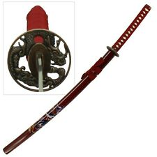 Samurai Sword Red Dragon Japanese Bushido Katana Carbon Steel