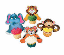 12pc ZOO SAFARI ANIMAL Cupcake Picks CAKE TOP Birthday Party Baby Shower
