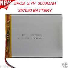 5PCS 3.7V 3000mAh Li-Polymer Battery PCM Rechargeable For Tablet PC U25GT 357090