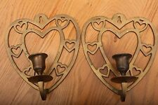 2 Vintage Brass Heart Shape Hanging Candle Stick Holders Wall Mount