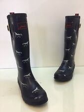 Joules Welly Print  Women Navy Rain Boots Size US 7
