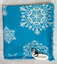 NEW 100% COTTON WOMEN'S TURQUOISE SNOWFLAKE PRINT SCARF