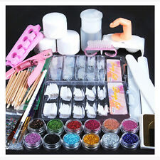New Acrylic Powder Glitter Nail Brush False Finger Pump Nail Art Tools Kit Set U