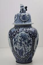 Delft Blue & White Bulbous Vase & Foo Dog Lid With Floral Decoration 31cm High