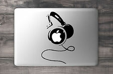 DJ headphones apple sticker BLACK quality vinyl decal Macbook Pro Air 13 15 17