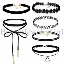6pcs Women's Black Vintage Gothic Velvet Lace Choker Collar Punk Tattoo Necklace