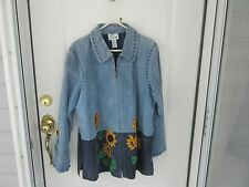 Quacker Factory Ladies XL. Blue Suede 3/4 Coat w/ Sunflowers on Bottom