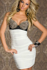 Sexy White Spike Studded Bra Stretch Body Con Party Dress Size 12