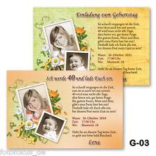 15 St. Einladungskarten, Fotokarten zum Geburtstag, Jubiläum mit Fotos+ Kuvert