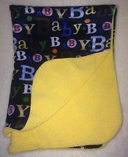 Circo Blue Minky Yellow Sherpa Baby Blanket Red Green Brown Letters Soft