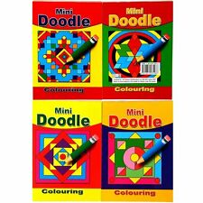 Set of 4 Mini Doodle Colouring Books / Pads - Art Colouring Therapy Calm