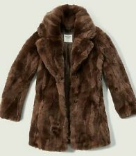 NWT Abercrombie & Fitch Womens Long Brown Faux Fur Jacket Coat parka ~ M